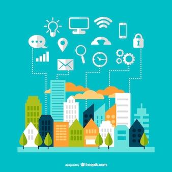 Moderne communicatie stadsgezicht design