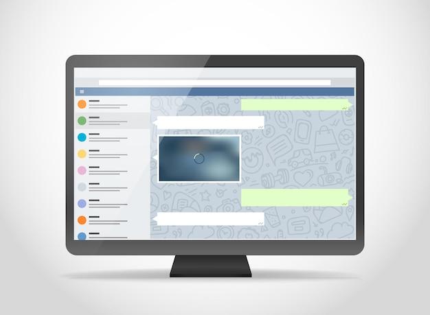 Moderne computer met messenger-applicatie op het scherm. fotorealistische mockup. sjabloon voor een inhoud