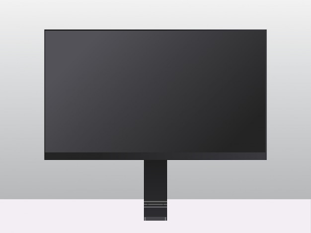 Moderne computermonitor met blanco zwart scherm realistische mockup gadgets en apparaten concept