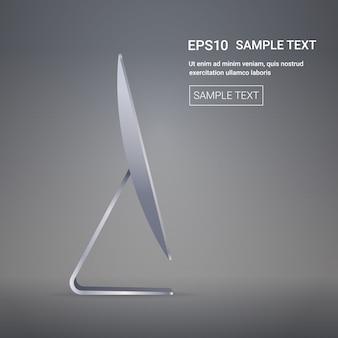 Moderne computermonitor realistische mockup gadgets en apparaten concept zijaanzicht kopie ruimte