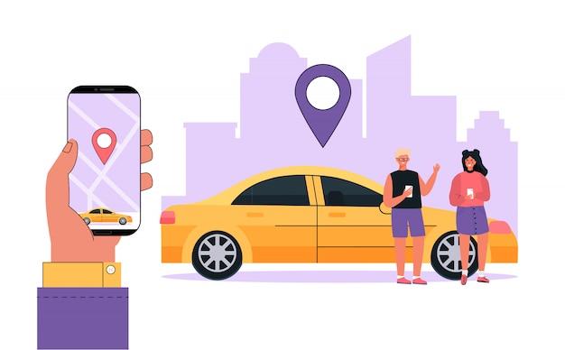 Moderne concept familie huurauto, autodelen service elke locatie stad.
