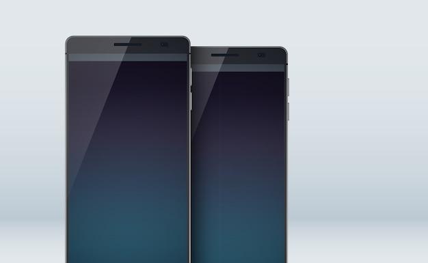 Moderne conceptreeks smartphonescollectie met twee realistische zwarte mobiele telefoons met stijlvolle grote displays in het grijs