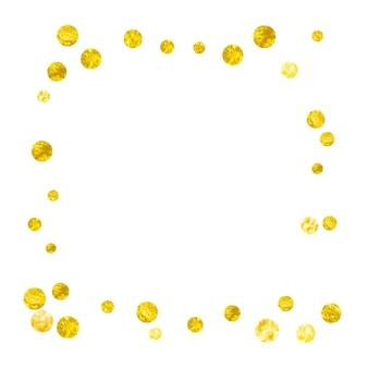 Moderne confetti. feestelijke deeltjes. gele glitterspray. gouden polka-effect. betrokkenheid starburst. kerst uitnodigen. bewaar datum achtergrond. gele moderne confetti