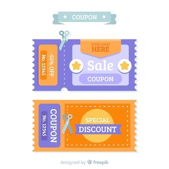 Moderne coupon of voucher sjabloonontwerp