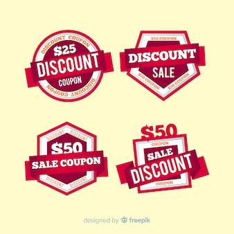 Moderne coupon verkoop label collectie met platte ontwerp