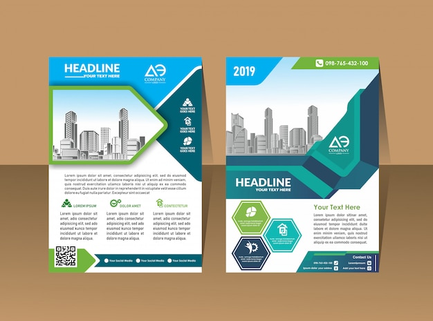Moderne cover brochure lay-out met stad achtergrond