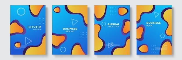 Moderne covers sjabloonontwerp. vloeiende kleuren. set trendy holografische gradiëntvormen voor presentatie, tijdschriften, flyers, jaarverslagen, posters en visitekaartjes