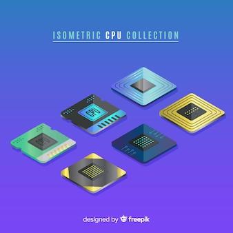 Moderne cpu-collectie met isometrische weergave