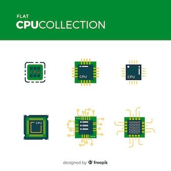 Moderne cpu-collectie met plat ontwerp