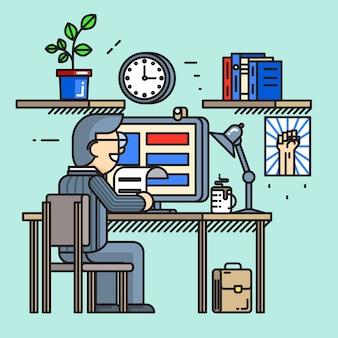 Moderne creatieve bureau werknemer in vlakke lijnstijl. kantoorwerkplek, routineproces, drukke zakenman.