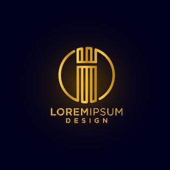 Moderne creatieve en luxe letter i logo ontwerp eerste