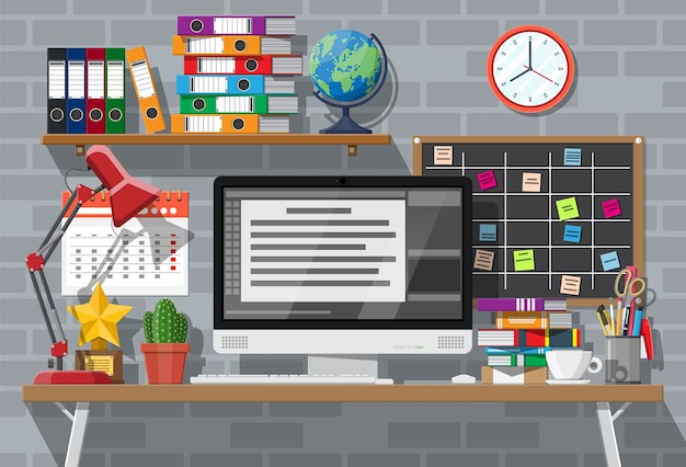 Moderne creatieve kantoor- of thuiswerkruimte.