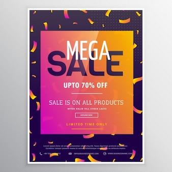 Moderne creatieve megaverkoop promotionele banner template voor reclame met kleurrijke conffetti