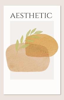 Moderne creatieve minimalistische handgeschilderde omslag met tropisch blad en abstracte pastelvormen