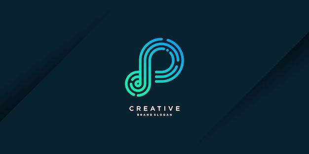 Moderne creatieve p-logosjabloon met computergegevens in unieke stijltechnologie deel 3