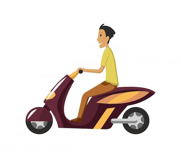 Moderne creatieve platte ontwerp illustratie met jonge man woon-werkverkeer op retro scooter. personenvervoer klassiek kijkend bromfiets, zijaanzicht