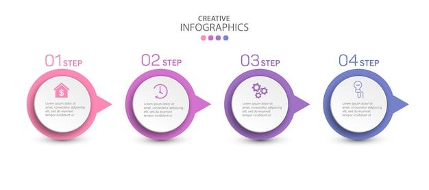 Moderne creatieve vector infographic sjabloon met 4 stappen