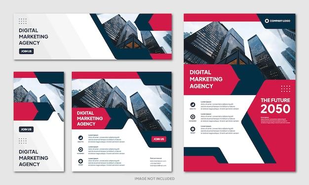 Moderne creatieve zakelijke brochure ontwerp achtergrond sjabloon en social media post banner instagram