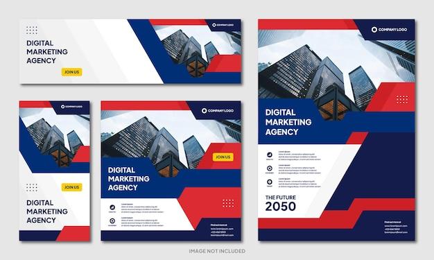 Moderne creatieve zakelijke brochure ontwerp achtergrond sjabloon en social media post banner