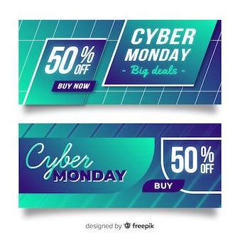 Moderne cyber maandag banners met verloopstijl