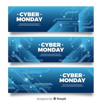 Moderne cyber maandag verkoop blauwe banner set