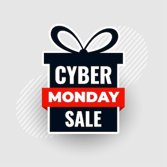 Moderne cyber maandag verkoop geschenkdoos met strik