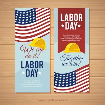 Moderne dag van de arbeid banners met platte ontwerp
