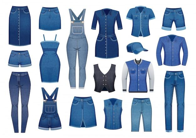 Moderne denimkleding voor mannen en vrouwenreeks pictogrammen die op wit wordt geïsoleerd