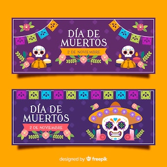 Moderne día de muertos banners