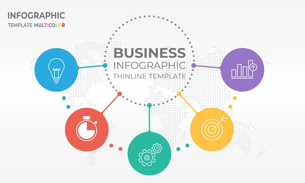 Moderne diagram infographic cirkel stijl 5 opties