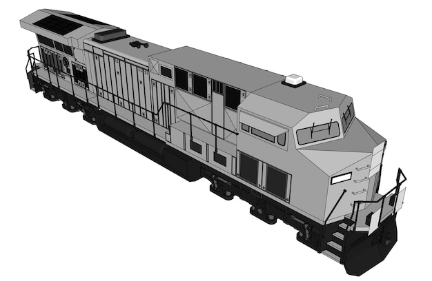 Moderne dieseltreinlocomotief met groot vermogen en kracht voor het rijden van lange en zware spoorwegtreinen. vectorillustratie met omtrek lijn lijnen.
