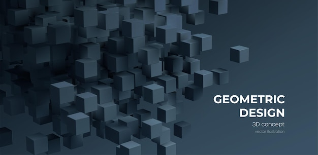 Moderne digitale geometrische kubus abstracte achtergrond
