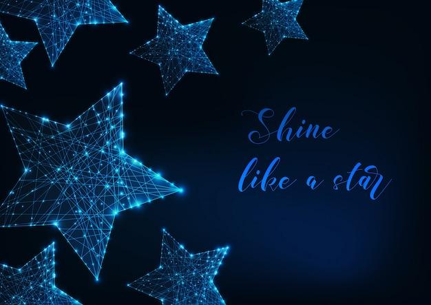 Moderne digitale gloeiende sterren gemaakt van lijnen, stippen, driehoeken en tekst op donkerblauw.