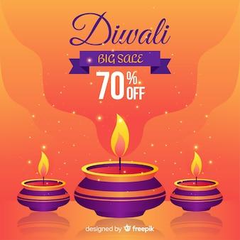 Moderne diwali-verkoopsamenstelling met vlak ontwerp