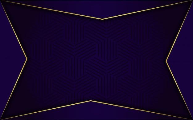 Moderne donkerblauwe achtergrond met glans, gouden lijn