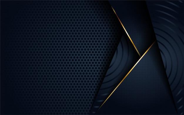 Moderne donkere 3d abstracte achtergrond met cirkelvormige en gouden lijnvorm.
