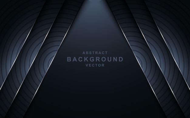 Moderne donkere 3d abstracte achtergrond met cirkelvormige zilveren lijnvorm.