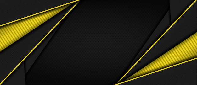 Moderne donkere 3d abstracte achtergrond met gele lijnvorm