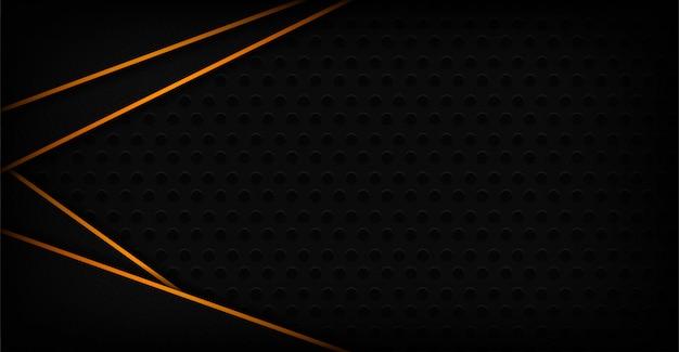 Moderne donkere 3d abstracte achtergrond met oranje lijnvorm