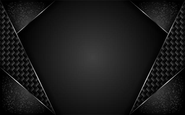 Moderne donkere koolstofachtergrond met overlappingslaag