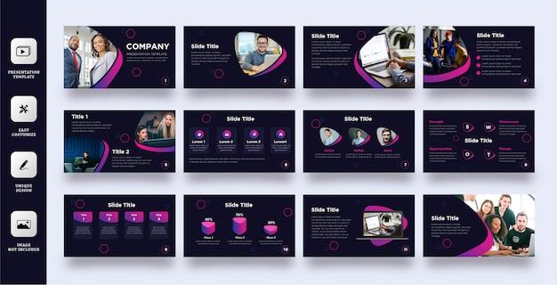 Moderne donkerpaarse multifunctionele presentatiesjabloon