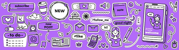Moderne doodle stickers voor sociale media. vector collectie. leukste patchset. schets schattige pictogrammen in violette en zwart-witte kleuren.