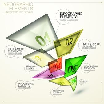 Moderne doorschijnende abstracte vierkante tag infographic-elementen