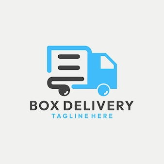 Moderne doosbezorging met truck logo vector