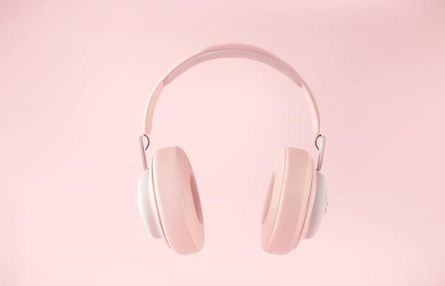 Moderne draadloze 3d-hoofdtelefoon op pastel gekleurde achtergrond.