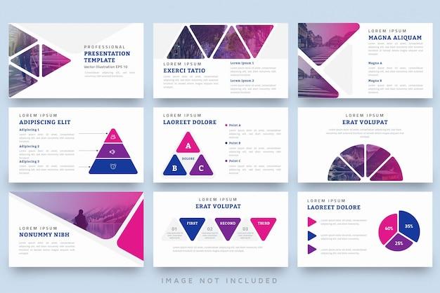 Moderne driehoek vorm professionele presentatiesjabloon set