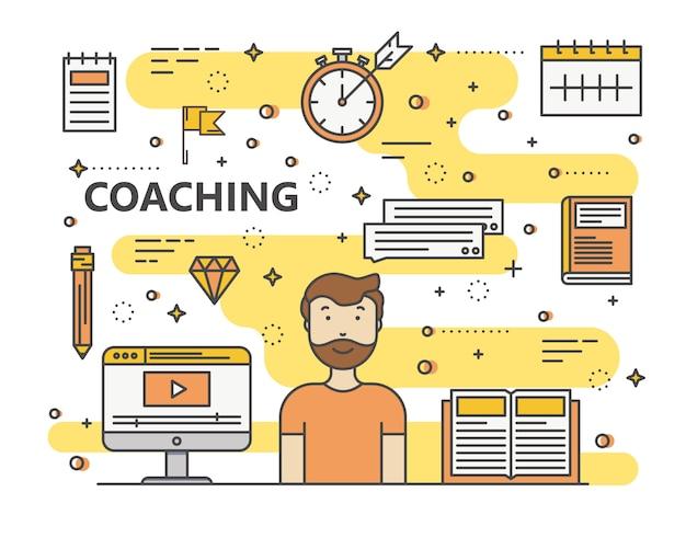 Moderne dunne lijn coaching concept illustratie