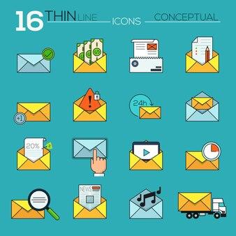 Moderne dunne lijn platte vector iconen collectie