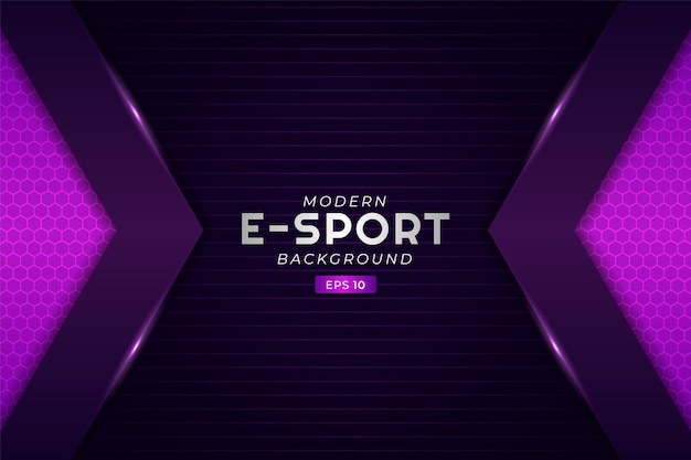 Moderne e-sport gaming achtergrond gloeiende pijl paars futuristische premium stream technologie
