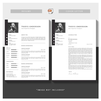 Moderne eenvoudige sjabloon voor curriculum en sollicitatiebrief